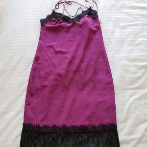 ASOS Purple Slip Dress with Lace Trim